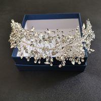 SLBLidal El Yapımı Gümüş Renk Kristal Rhinestone Gelin Tiara Kafa Düğün Taç Saç Aksesuarları Nedime Kadınlar Takı