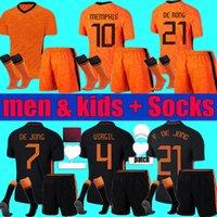 Взрослые дети Нидерланды 2021 2022 Мемфис футбол для футболки Kit 21 22 De Jong Ligt Wijnaldum Holland Футбольная футболка Virgil Men Child Pull Set