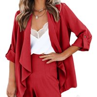 2021 new women's solid color open neck seven sleeve casual fashion suit coat d2f078
