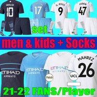 Fans Spieler Version 2021 2022 City Ferran de Bruyne Fussball Trikots Grealische Sterling Manchester Männer Kids Kit 21 22 Foden Bernardo Mann Fußball Hemd Set Socken Uniform