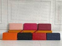 Venta al por mayor 7 colores Famosa marca moda solo cremallera diseñador hombres mujeres cuero billetera señora ladies largo bolso con caja naranja