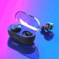 TWS Bluetooth 이어폰 Y50 -compatible 5.0 무선 헤드폰 이어폰 스테레오 게임 헤드셋과 휴대 전화 용 충전 상자