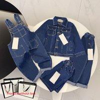 Детская одежда наборы одежды девушка мальчик джинсовая куртка пиджака верхние джинсы пальто мода классические комбинезоны шорты детские брюки куртка 4 стилей костюмы ребенка