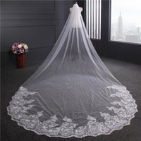 4M*1.8M Lace Long Bridal Head Veil Luxury White Ivory Applique Wedding Tulle Polyester Hair Accessories Clips & Barrettes