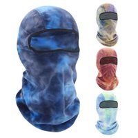 Cycling Caps & Masks Winter Tie-Dye Warm Hood Mask Cold Proof Fleece Head Cover Thermal Balaclava Hat For Women Men Equipment