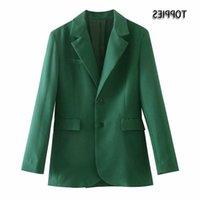 Kadın Takım Elbise Blazers Blazer Toppies Yeşil Kadın Tek Göğüslü Takım Elbise Ceket Ofis Bayanlar Ince Uzun Çentikli Yaka Kadın Dış Giyim