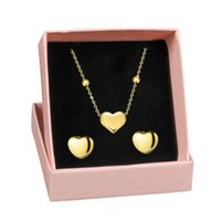 Stainless Steel Sweet, Cute And Playful Love Simple Titanium Necklace Earring Set No Fade Earrings &