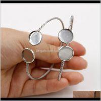Fnixtar Stainless Steel Bangle Bracelet Blank Base Settings Fit 12Mm Glass Cabochon 10 Piecelot Bs5Eo P2Kyg