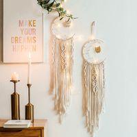 Bohemian Chic Macrame Wand Hanging Tapestry Mandala Moon Dreamcatcher Decor Boho gewebt Gestrickte Wandteppiche Home Decoration 2181 v2