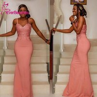Bridesmaid Dress Coral Dresses Long 2021 Lace Appliques Spaghetti Straps Zipper Back Mermaid Wedding Guest Maid Of Honor Gowns