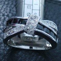 Lüks Boyutu6-9 Lüks Takı 925 Gümüş Dolu Siyah Safir Gemstones Alyans
