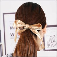 Rubber Bands Jewelry Jewelry1 Pc Cute Tiara Satin Bow Tie Scrunches Band Ribbon Ponytail Holder Rope Rings Women Girl Hair Aessories Tools D