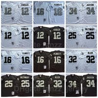 NCAA Vintage Футбол Ретро 34 Бо Джексон Джерси 12 Кен Stabler 16 Джим Планкетт 32 Маркус Аллен 25 Фред Билетникофф Черная Белая команда