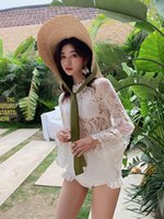 One-Piece Suits 2021 Women Three Pieces Tankini Set Swimsuit Sexy Transparent Lace See Through One Cover Long Sleeves Bodysuit