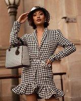 Повседневные платья Vero Shrly 2021 зимний сексуальный с длинным рукавом V шеи Houndstooth женщины Blazer платье мода вечерняя вечеринка Vestido
