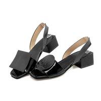 Kleid Schuhe Runde Quadrat Dekorative Sandalen Große Größe 40-43 Yards mit schwarzem und weiß großzügiger Spring Sommer