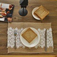 Servilleta de mesa 4pcs / set Jute Placemat Mat de algodón Tablas de tela de encaje Decoración de Navidad Napkins Lino Boda Guardanapo