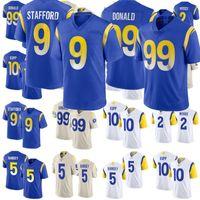 9 ماثيو ستافورد جيرسي الرجال النساء الشباب 99 هارون دونالد 2 روبرت وودز 5 جالين رامزي 10 كوبر كوب كوب لكرة القدم ملكي أبيض بيج خياطة