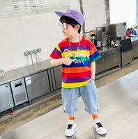 Мальчики летняя одежда наборы моды дети радуга полоса с коротким рукавом футболка + половина джинсовых брюк 2 шт. Детские повседневные наряды A6557