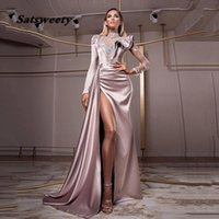 Lace Mermaid Evening Dresses 2021 Elegant Long Sleeves Sexy Split Prom Gown Formal Party Women