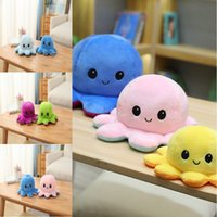 DHL Fast delivery Hot Reversible Flip Octopus Stuffed Dolls Soft Double-sided Expression Plush Toy Baby Kids Gift Doll Christmas 1901 Y2