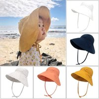 Baby Bucket Cap Kids Sun Hat Round Broad Brim Top Wide Fisherman Hats With Strap Boy Girl Summer Protection Casual Children