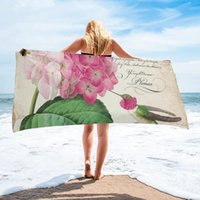 Towel Hummingbird With Hydrangea Beach Quick Dry Microfiber Bath Blanket For Adults Kids Outdoor Picnic