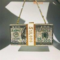 Borsa del rhinestone della frizione dei soldi 10000 Dollari Pila di Borse da cerimonia nuziale della spalla delle borse della sera di cassa Borsa da cerimonia nuziale 8 borse di colore