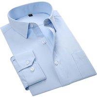 Men's Dress Shirts Male Shirt Long-Sleeve Formal Business No Fade Twill Light Blue Fashion Mens Tuxedo Slim-Fit Solid