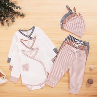 Clothing Sets Toddler Baby Boys Girls Long Sleeve Romper Bodysuit+striped Pants Hat Outfits Child Jogging Garcon Casual