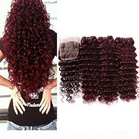 Бургундия кружева закрытие глубокой волны бразильский человеческий волос вина красный сырой глубокая вьющиеся вьющиеся вьющиеся волна океана 99J наращивание волос волнистые пакеты с закрытием
