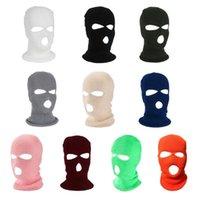 Frauen Männer Masken 3-Loch Gestrickte volle Gesichtsabdeckung Ski Winter Warm Radfahren Neon Solide Farbe Balaclava Mask Hut Halloween Party Cosplay Cap