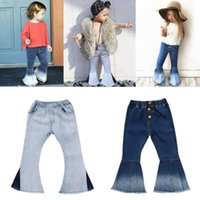 Pudcoco Girl Pants 2Y-7Y USA Toddler Kids Baby Girl Bell Bottoms Long Pants Denim Jeans Wide Leg Trousers 210225