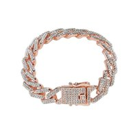 Link, Chain Hip Hop 13mm Bling Full Zircon Rhinestone Miami Cuban Iced Out Link Bracelet Bangles For Women Men Jewelry 8 Inch