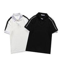 Männer Polos Mode Revers Kurzarm T-Shirt, Schulter Buchstaben Stickereidruck, hochwertigem atmungsaktives Stoff, casual schlanker Polo