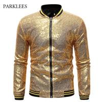 Glänzende Pailletten Sparkle Bomber Jacke Männer est Gold Glitter gestreifte Reißverschluss Herrenjacken und Mäntel Party Dance Show Kleidung 211009