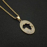 Hip Hop Iced Out African Africa Map Pendant Necklaces Male Gold Color Stainless Steel Chain For Men Hiphop Jewelry Drop