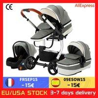 Tasarımcı Lüks Arabası Bebek 3 1 Lüks Taşınabilir Taşıma PU Deri Alüminyum Çerçeve Kauçuk Tekerlek Yüksek Manzara Doğan