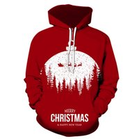 Men's Pattern 3D Printing Hoodie Party Fashion Tops Christmas Round Neck High Quality Street American Sweater Four Seasons NO38