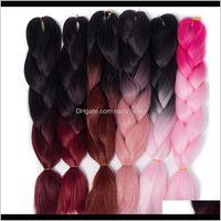 """Bulks QP Zwei Ton Farbige Häkelzöpfe Haar 24 """"(60 cm) 100g / pc Synthetische Ombre Jumbo Flechtverlängerungen 1JBJB LDWM3"""