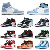 Air jordan 1 Basketball Shoes  Scarpe OG di pallacanestro del Mens Top Quality Banned Bred Triple Black White Royal Blue TOP 1s Designer Sport Sneakers Taglia 36-45