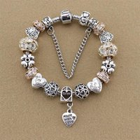 Charm Bracelets Corazón Pulsera Bangle Bangle Beads Fit Pandoras con joyería de cristal beige de diamante artificial