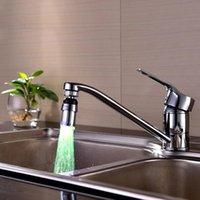 Kök kranar kran tillbehör färgglada streamer färgförändring temperatur sensor 360 ° rotation utan batteri badrum dusch huvud pa