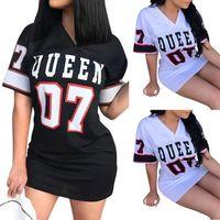 V-Neck Queen Letter Print 2021 New Woman's T-Shirt Dress Casual Hip Hop Mini Vestidos Streetwear Female Fashion Clothes bodycon
