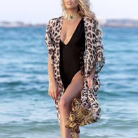 Women Beach Wear Bikini Cover Up Leopard Print Chiffon Kimon...