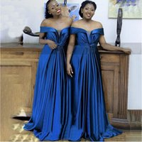 Royal Blue Satin A Line Bridesmaid Dresses With Bow Off Shoulder African Women Long Wedding Party Dress