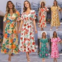 V-neck floral lotus leaf sleeve casual dress in summer of 2021