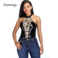 Ziamonga Elegant 2021 Sexy Mesh Sequined Bodysuit Women Backless Halter Summer Playsuit Casual Rompers Womens Jumpsuit Women's Jumpsuits &