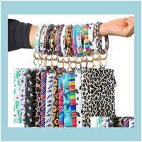 Pendants Arts, Crafts Gifts Home & Gardenpendant Print Pu Bag Chain Leather Bracelet Keychain Wallet Rainbow Leopard Printing Ring Tassels K