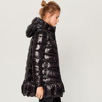 Ladies Jackets Winter Women Clothes Shiny Black Hooded Puffer Padded Jacket Coat
